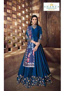 Melodic Blue Taffeta Silk- Satin Salwar kameez