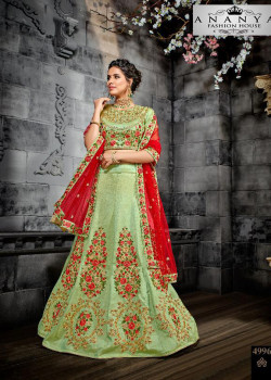 Luscious Pista Green color Silk Designer Lehenga
