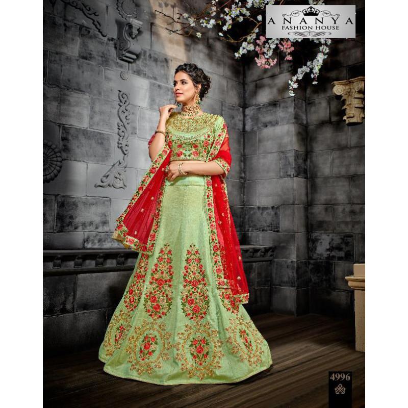 Luscious Pista Green color Silk Designer Lehenga