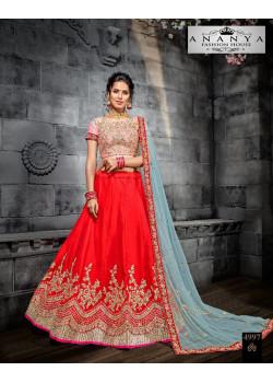 Trendy Red color Butter Silk Designer Lehenga