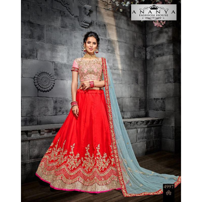 Trendy Red color Butter Silk Designer Lehenga