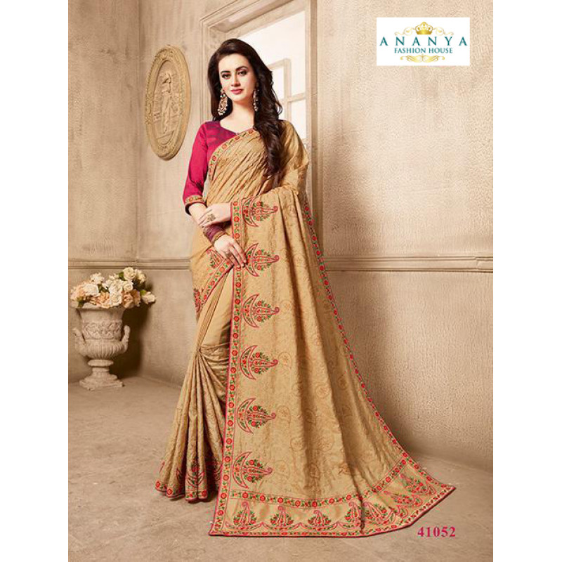 1a5773c6e960ce Divine Beige Silk Saree with Magenta Blouse