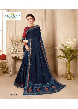 Exotic Dark Blue Silk Saree with Wine Blouse
