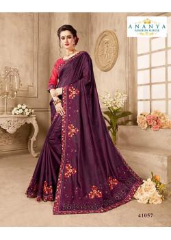 Plushy Violet Silk Saree with Magenta Blouse