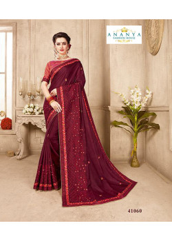 Classic Wine Silk Saree with Dusky Pink Blouse