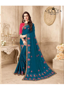 Dazzling Blue   Silk Saree with Magenta Blouse