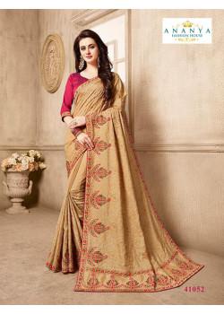 Divine Beige Silk Saree with Magenta Blouse