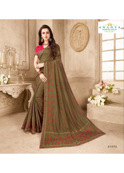 Incredible Olive Green Silk Saree with Magenta Blouse