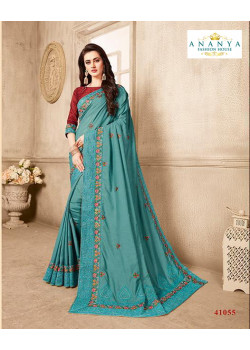 Magnificient Light Blue Silk Saree with Brown Blouse