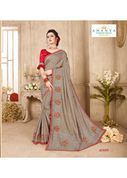 Melodic Grey Silk Saree with Maroon Blouse