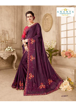 Plushy Violet Silk Saree with Magenta Blouse