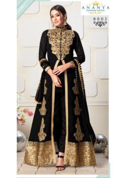 Luscious Black Faux Georgette- Santoon Salwar kameez