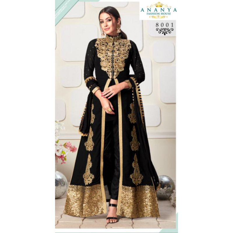 Luscious Black Faux Georgette- Santoon Salwar kameez