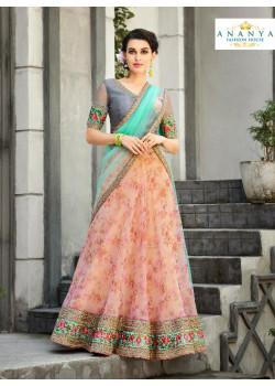Charming Light Pink color Organza Silk Designer Lehenga