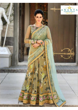 Dazzling Olive Green color Organza Silk Designer Lehenga