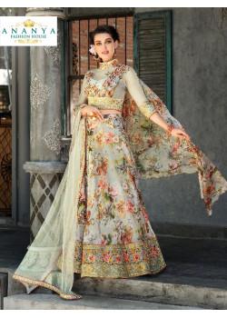 Divine Grey color Organza Silk Designer Lehenga