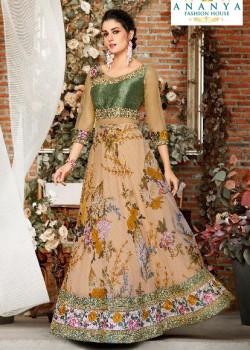Gorgeous Beige color Organza Silk Designer Lehenga