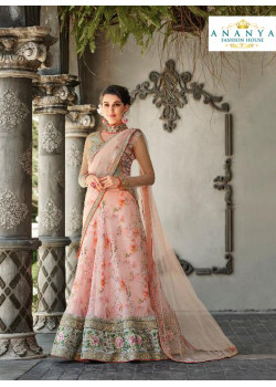 Incredible Light Pink color Organza Silk Designer Lehenga