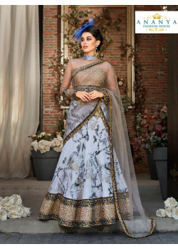 Magnificient Pastel Blue color Organza Silk Designer Lehenga