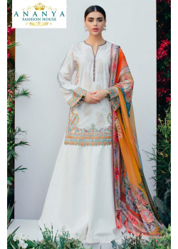 Exotic White Pure Cambric Salwar kameez