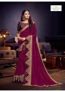Flamboyant Violet Silk Saree with Dark Purple Blouse