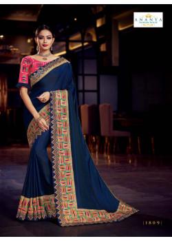 Luscious Navy Blue Silk Saree with Pink Blouse