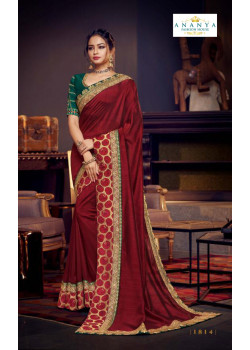 Divine Maroon Silk Saree with Bottle Green Blouse