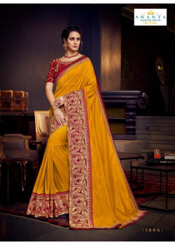Classic Mustard Silk Saree with Maroon Blouse