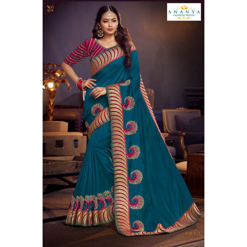 Dazzling Blue Silk Saree with Violet Blouse