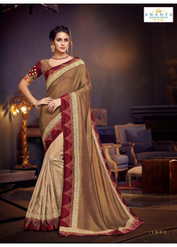 Incredible Beige- Gold Silk Saree with Maroon Blouse