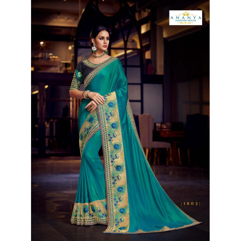Plushy Light Blue Silk Saree with Dark Blue Blouse