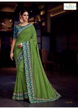Trendy Light Green Silk Saree with Blue Blouse