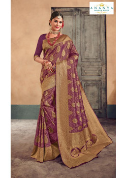 Exotic Purple- Gold Brocade Silk Saree with Purple Blouse