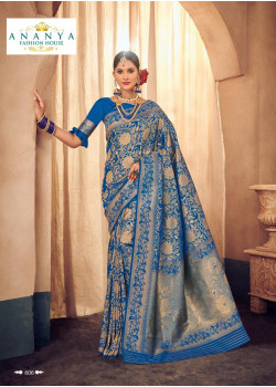 Melodic Blue Brocade Silk Saree with Blue Blouse