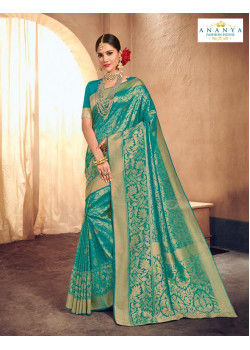 Classic Light Blue Brocade Silk Saree with Light Blue Blouse