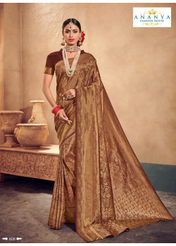 Adorable Brown Brocade Silk Saree with Brown Blouse