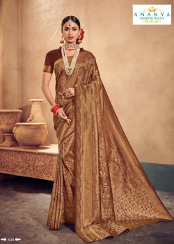 Adorable Brown Brocade Silk Saree with Brown Blouse