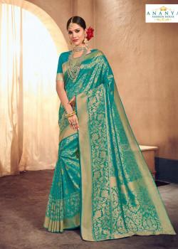 Classic Light Blue Brocade Silk Saree with Light Blue Blouse