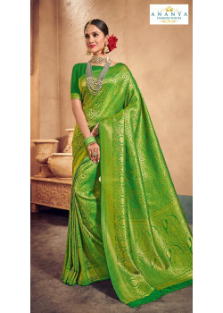 Enigmatic Green Brocade Silk Saree with Dark Green Blouse