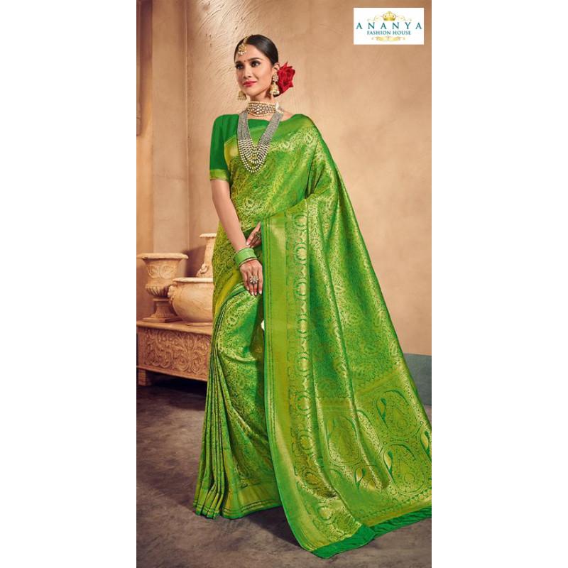 Enigmatic Green Brocade Silk Saree with Dark Green Blouse