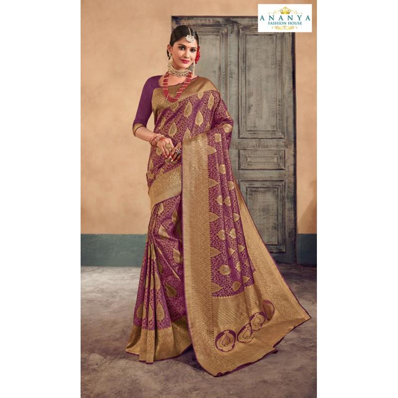 Exotic Purple- Gold Brocade Silk Saree with Purple Blouse