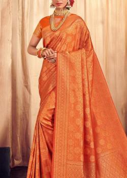 Flamboyant Orange Brocade Silk Saree with Orange Blouse