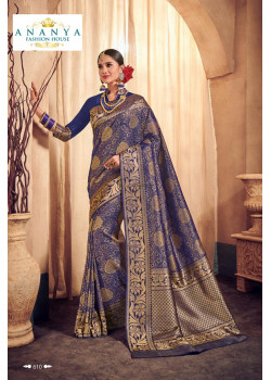 Luscious Dark Blue Brocade Silk Saree with Dark Blue Blouse