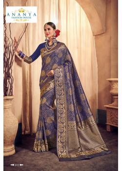 Luscious Dark Blue Brocade Silk Saree with Dark Blue Blouse