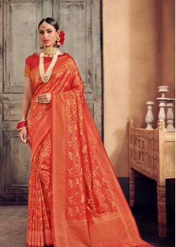 Magnificient Red- Gold Brocade Silk Saree with Red Blouse