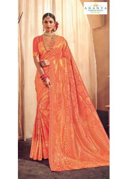 Plushy Peach Brocade Silk Saree with Orange Blouse