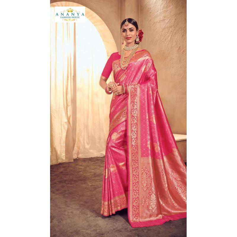 Trendy Pink Brocade Silk Saree with Pink Blouse