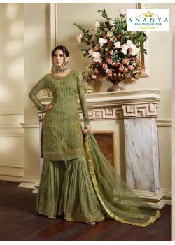 Charming Pista Green Pure Satin Salwar kameez