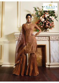 Dazzling Light Peach Pure Satin Salwar kameez