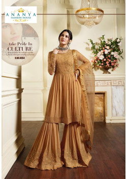 Gorgeous Dull Yellow Pure Georgette Salwar kameez